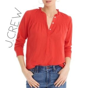 J. Crew Mercantile red pleat ruffle blouse 00 XXS